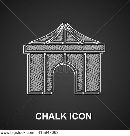 Chalk Circus Tent Icon Isolated On Black Background. Carnival Camping Tent. Amusement Park. Vector