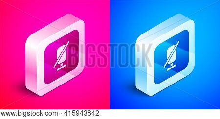 Isometric Mute Microphone Icon Isolated On Pink And Blue Background. Microphone Audio Muted. Silver