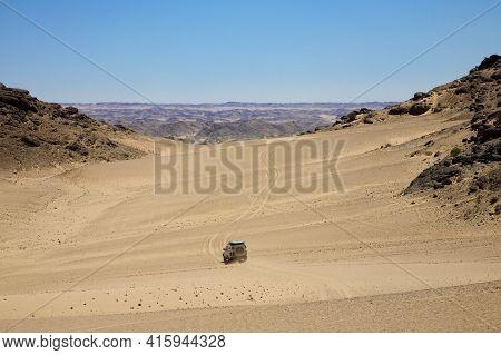 Skeleton Coast Desert, Namibia, January 11: 4x4 Off-road Car Driving In The Skeleton Coast Desert Wi