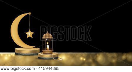 Islamic Podium With Pink Gold Crescent Moon, Traditional Islamic Lantern, Rosary Beads, Candle. Vect