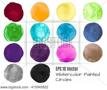 Watercolor Circle Vector. Graphic Dots Elements. Colorful Blots Texture. Hand Paint Watercolor Circl