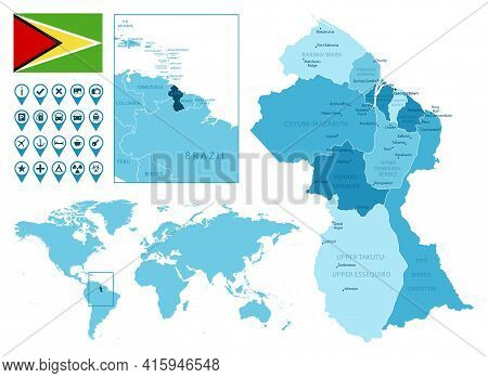 Guyana Detailed Administrative Blue Map With Country Flag And Location On The World Map. Vector Illu