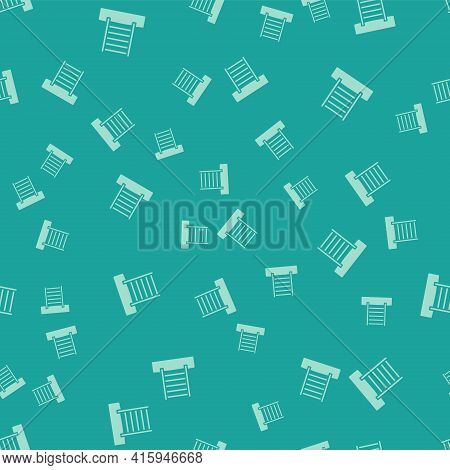 Green Wooden Swedish Wall Icon Isolated Seamless Pattern On Green Background. Swedish Stairs. Vector