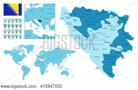Bosnia And Herzegovina Detailed Administrative Blue Map With Country Flag And Location On The World