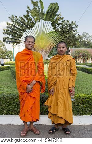 Cambodian Buddhist Monks Posing In The King's Palace, Phnom Penh