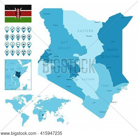 Kenya Detailed Administrative Blue Map With Country Flag And Location On The World Map. Vector Illus