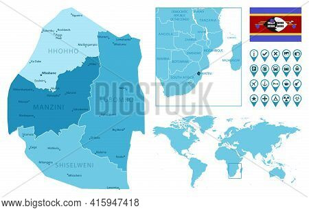 Eswatini Detailed Administrative Blue Map With Country Flag And Location On The World Map. Vector Il