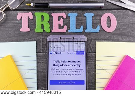 Moscow, Russia - 01 April 2021: Business Concept Using The List Making Application Trello With Offic