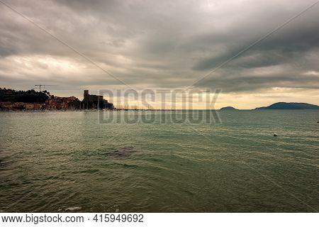 Seascape And Lerici Town In Winter, Gulf Of La Spezia Also Called Gulf Of Poets, Liguria, Italy, Eur