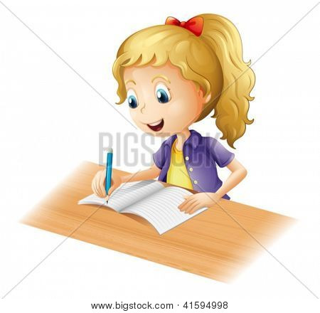 Illustration of a young girl writing on a white background