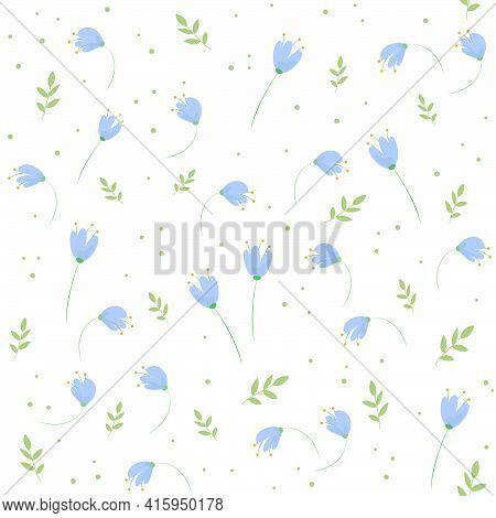 Seamless Blu Floral Pattern. Romantic Summer Background