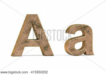 Brass 3d Letter A - Three Dimensional Uppercase And Lowercase A Covered With Old Brass Texture On Wh