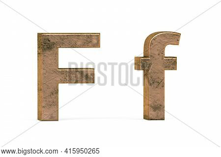 Brass 3d Letter F - Three Dimensional Uppercase And Lowercase F Covered With Old Brass Texture On Wh