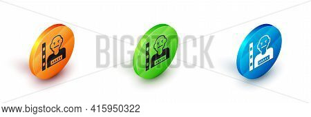 Isometric Suspect Criminal Icon Isolated On White Background. The Criminal In Prison, Suspected Near