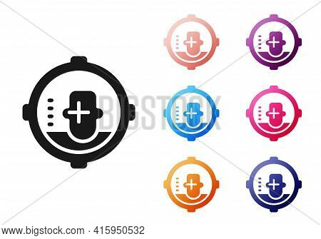 Black Headshot Icon Isolated On White Background. Sniper And Marksman Is Shooting On The Head Of Man