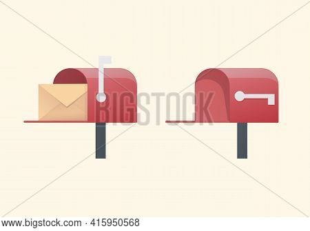 Mailbox Set Concept. Colored Flat Vector Illustration. Isolated On Yellow Background.