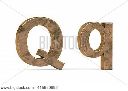 Brass 3d Letter Q - Three Dimensional Uppercase And Lowercase Q Covered With Old Brass Texture On Wh