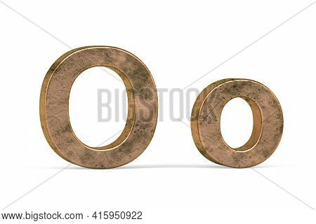 Brass 3d Letter O - Three Dimensional Uppercase And Lowercase O Covered With Old Brass Texture On Wh