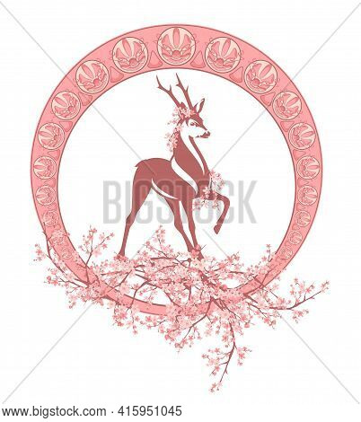 Roe Deer Stag Among Blooming Tree Branches And Art Nouveau Style Ornament Frame - Spring Season Vect