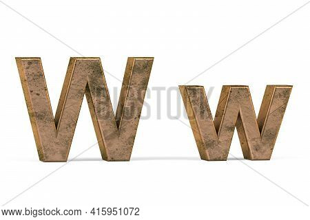 Brass 3d Letter W - Three Dimensional Uppercase And Lowercase W Covered With Old Brass Texture On Wh