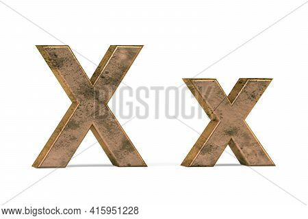 Brass 3d Letter X - Three Dimensional Uppercase And Lowercase X Covered With Old Brass Texture On Wh