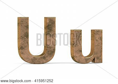 Brass 3d Letter U - Three Dimensional Uppercase And Lowercase U Covered With Old Brass Texture On Wh