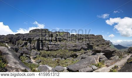 Panorama From The Top Of The Roraima Tepui With Blue Sky - Table Mountain - Triple Border, Venezuela