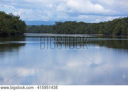 Flat And Calm River At Canaima National Park, Venezuela