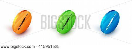 Isometric Marijuana Joint, Spliff Icon Isolated On White Background. Cigarette With Drug, Marijuana
