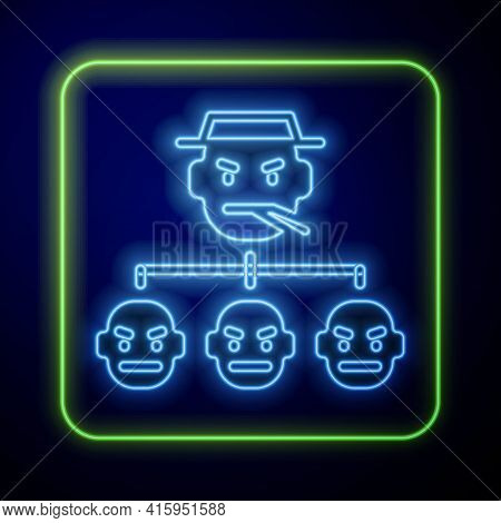 Glowing Neon Mafia Icon Isolated On Blue Background. Boss And Gangsters. Vector