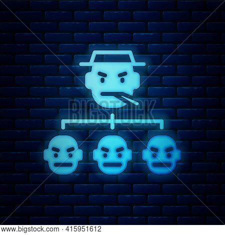 Glowing Neon Mafia Icon Isolated On Brick Wall Background. Boss And Gangsters. Vector