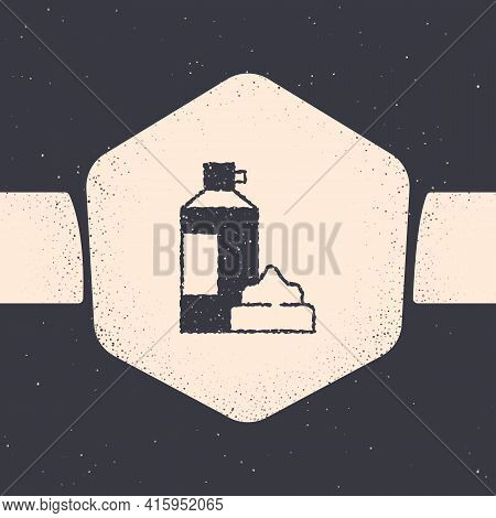 Grunge Whipped Cream In An Aerosol Can Icon Isolated On Grey Background. Sweet Dairy Product. Milk P