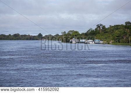Santo Antonio Do Ica, Brazil, March 18: Harbor Of Santo Antonio Do Ica With Blue Sky, On The Amazon