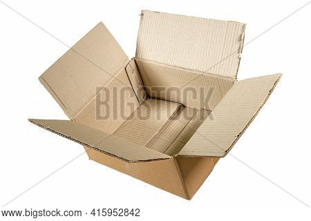 Side View Of An Unfolded Empty Cardboard Box Isolated