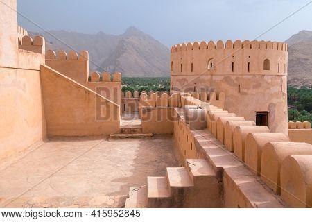 Nakhal,oman - 04.01.2018: Yard Inside The Medieval Arabian Fort Of Nakhal, Oman. Fortification Walls