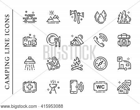 Camping Line Icons Set Isolated On White Background. Camping Icons Contain Signs As Tent, Backpack,