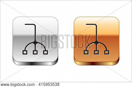 Black Walking Stick Cane Icon Isolated On White Background. Silver And Gold Square Buttons. Vector