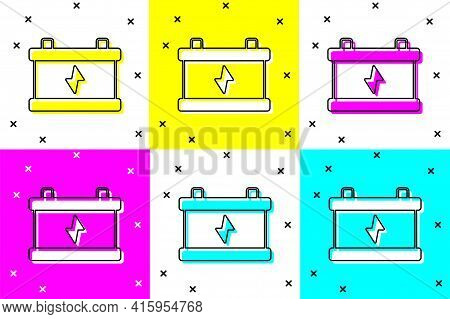 Set Car Battery Icon Isolated On Color Background. Accumulator Battery Energy Power And Electricity