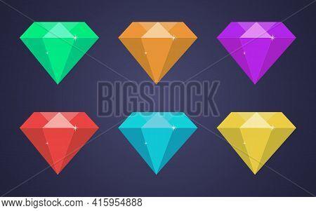 Set Of Precious Stones In A Flat Style. Green, Red, Blue, Yellow, Orange, Green. Diamonds, Diamonds,