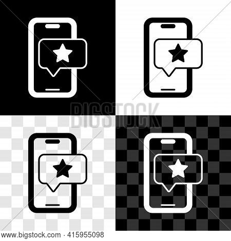 Set Mobile Phone With Review Rating Icon Isolated On Black And White, Transparent Background. Concep