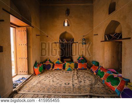 Nakhal, Oman - 04.03.2018: Room Of A Medieval Arabian Castle.