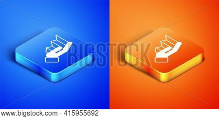 Isometric Pie Chart Infographic Icon Isolated On Blue And Orange Background. Diagram Chart Sign. Squ