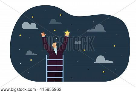 Man On Ladder Catching Star. Dream Or Wish Of Success In Career Flat Vector Illustration. Achievemen