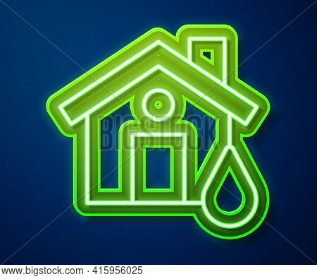 Glowing Neon Line House Flood Icon Isolated On Blue Background. Home Flooding Under Water. Insurance