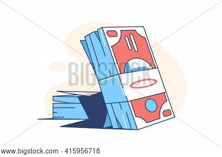 Pack Of Money Banknotes Vector Illustration. Blue
