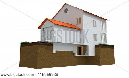 Private Home Foundation, Isolated Cgi Industrial 3d Illustration