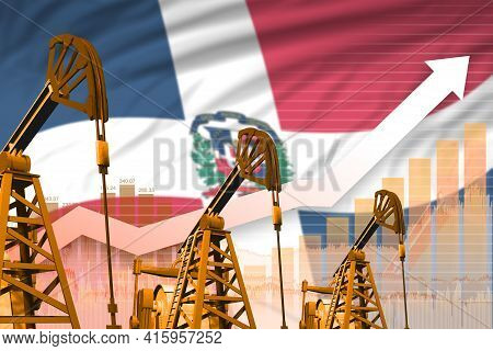 Dominican Republic Oil Industry Concept, Industrial Illustration - Rising Up Chart On Dominican Repu