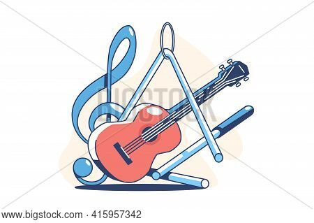 Musical Instruments For Playing Vector Illustration. Guitar