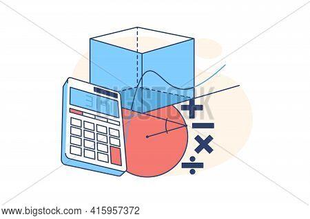 Calculator And Geometrical Figures Vector Illustration. Plus