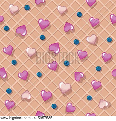 Wafer Seamless Pattern Decorated With Hearts And Berries. Sweet Cartoon Background. Vector Illustrat